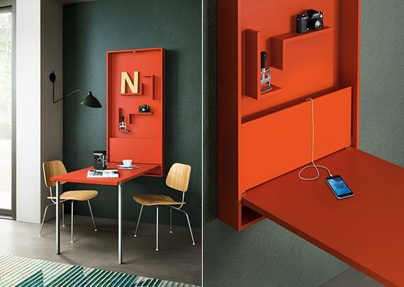 farbgestaltung küche mit wandfarbe dunkelgrau und klapptisch orange