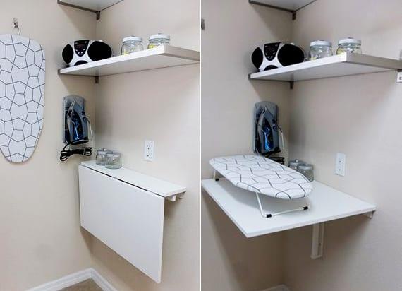 waschküche einrichten mit weißen wandregalen und klapptisch zum bügeln