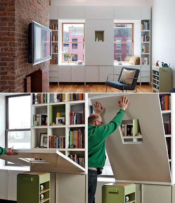 modernes wohn-esszimmer mit kamin und wandregalen als fensterbank_coole einrichtungsideen für kleine wohnungen
