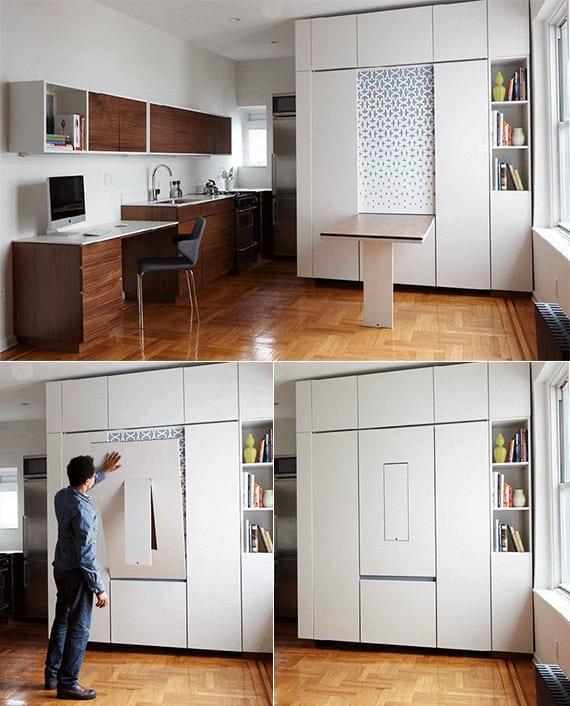 kleine räume einrichten mit klappbett und klapptisch_kreatibe einrichtung für 1 zimmer wohnung mit Küchenzeile, schreibtisch, klappbarem bett und Klappesstisch