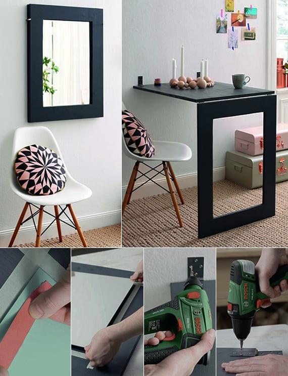 klaptisch mit spiegel selber bauen_coole idee für kleine räume ohne esstisch