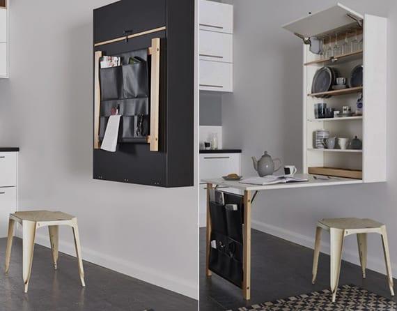 platzsparender wandregal mit klapptisch als idee für kleine küchen und moderne wanddeko