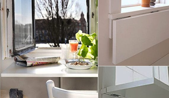 enge und kleine raeume einrichten mit modernem klapptisch vor dem fenster freshouse. Black Bedroom Furniture Sets. Home Design Ideas