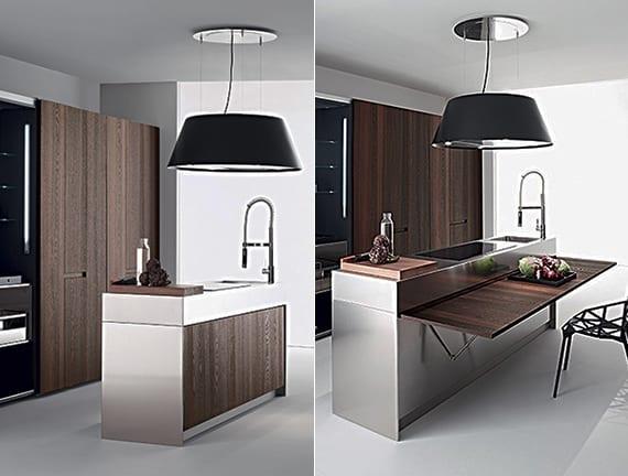 moderne küche einrichten mit kochinsel, klapptisch holu, großer pendellampe schwarz und moderne einbauküche schwarz