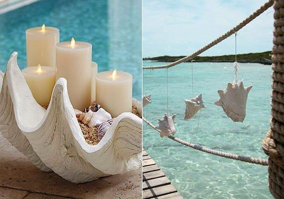 coole sommerdeko ideen mit kerzen in großer Muschel und diy hängedeko mit weißen meer meeresschnecken