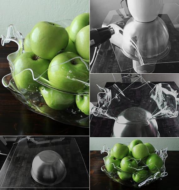 moderne obstschale selber basteln mit acrylglas