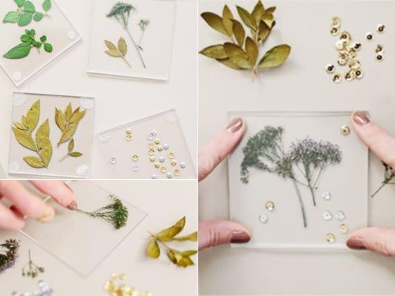 interessante untersetzer selber basteln mit acrylglas und gepressten blumen als coole geschenkidee und tischdekoidee
