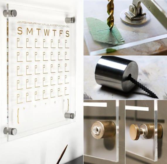 coole bastelidee für diy kalender aus acrylglas als beispiel für moderne wandgestaltung