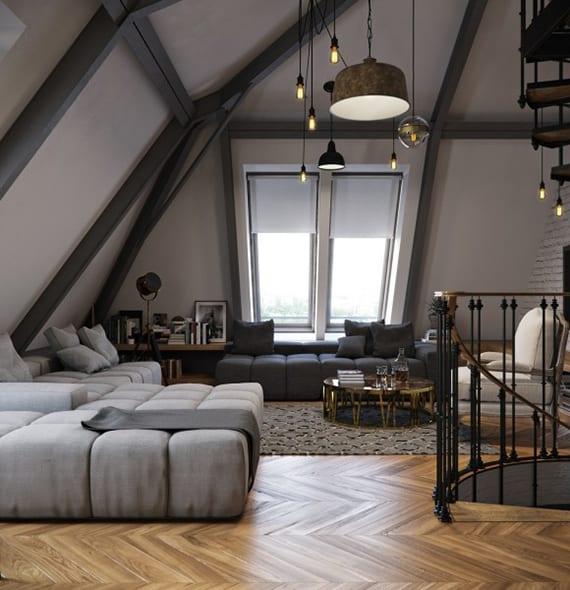 farbgestaltung einer dachwohnung mit wandfarbe grau und coole einrichtungsidee mit modernen seats and sofas in grau, vintage pendellampen und parkettbodenbelag