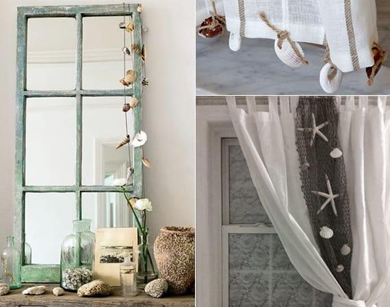 coole dekoideen für Fensterdeko und Deko mit DIY Spiegel aus Fensterrahmen und Muscheln