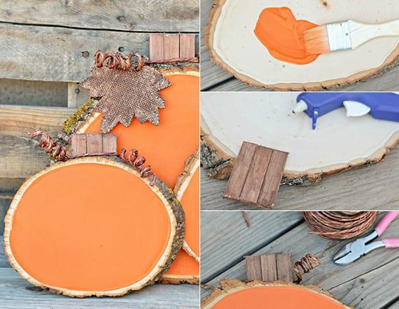 coole dekoidee mit DIY Herbstdeko und kreative herbst bastelidee für Kürbisse aus Holzscheiben