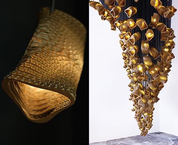 Moderne Lampen Als Beispiel Für Coole Umweltfreundliche Produkte Aus  Wellpappe