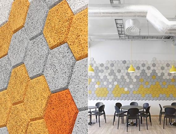 kreative wandgestaltung und farbgestaltung mit eco friendly Akustikplatten aus Holzwolle in veschiedenen farben