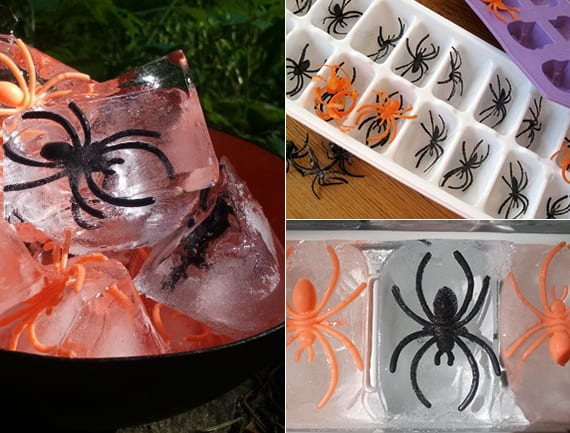 halloween-coole-ideen-fuer-coole-halloween-party-deko-mit-spinnen-eiswuerfeln