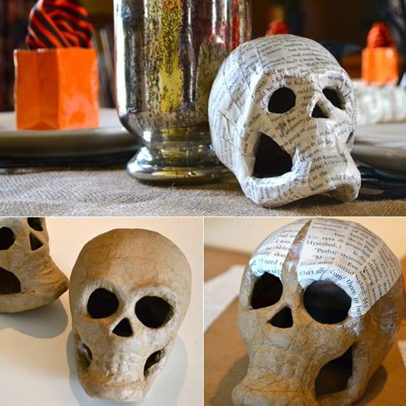 halloween totenkopf dekoidee für spooky tischdeko