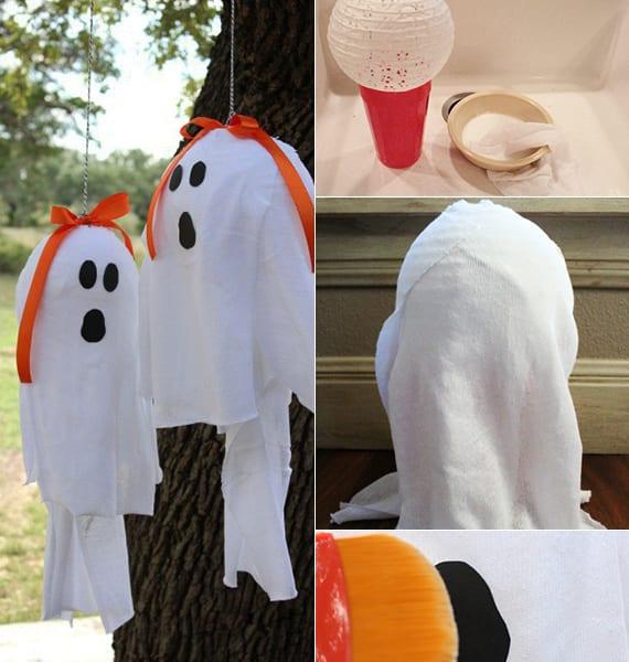 kreative halloween deko für garten mit diy Geister-Laternen