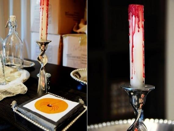 einfache dekoration für halloween mit kerzen