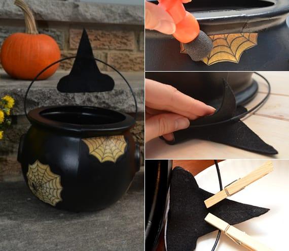 halloween ideen für halloween Dekoration mit diy Hexenkessel für ihre halloween party