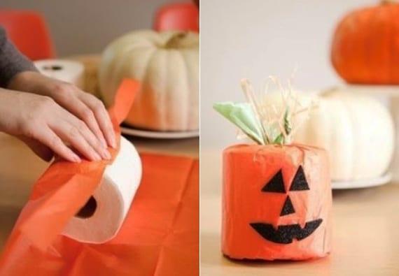 einfaches halloween basteln mit geschenkpapier und toiletpapier