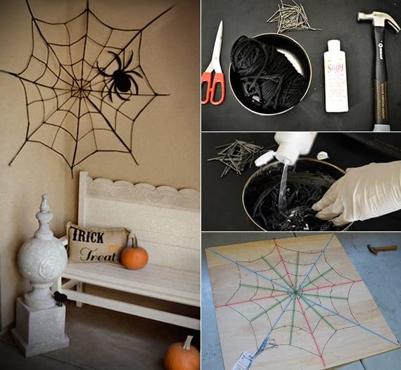 coole halloween dekoideen zum selber machen_diy spinnengewebe aus garn