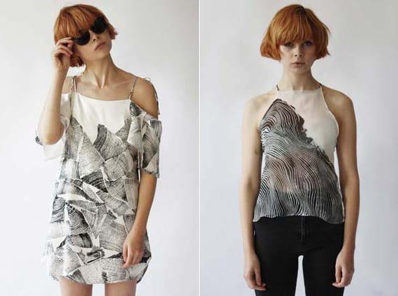 designer-Kleidung aus seide mit schwarzem holzreliefdruck