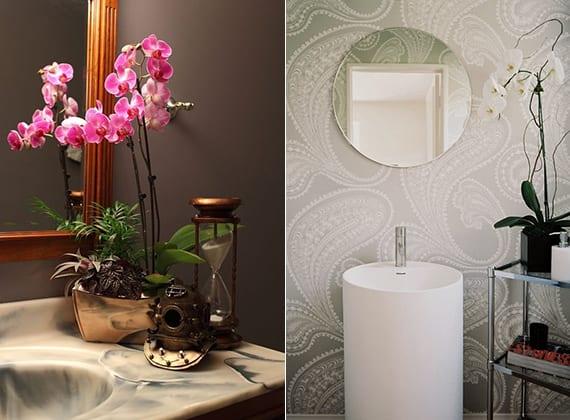 luxuriöse badezimmergestaltung mit orchideen als frische badezimmer deko