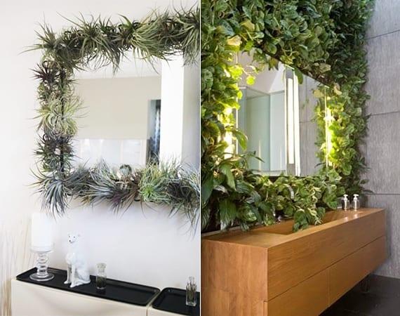 kreative badezimmergestaltung mit spiegelrahme aus pflanzen als coole dekoidee mit pflanzen für badezimmer