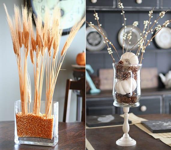 tischdeko ideen für den herbst mit glasvasen, weiüen, zapfen und kleinen kürbissen