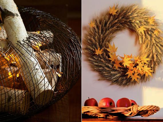 diy weizen-Kranz als herbst deko idee für die wand und diy Herbstdeko mit drahtkorb, lichterkette und hölzern