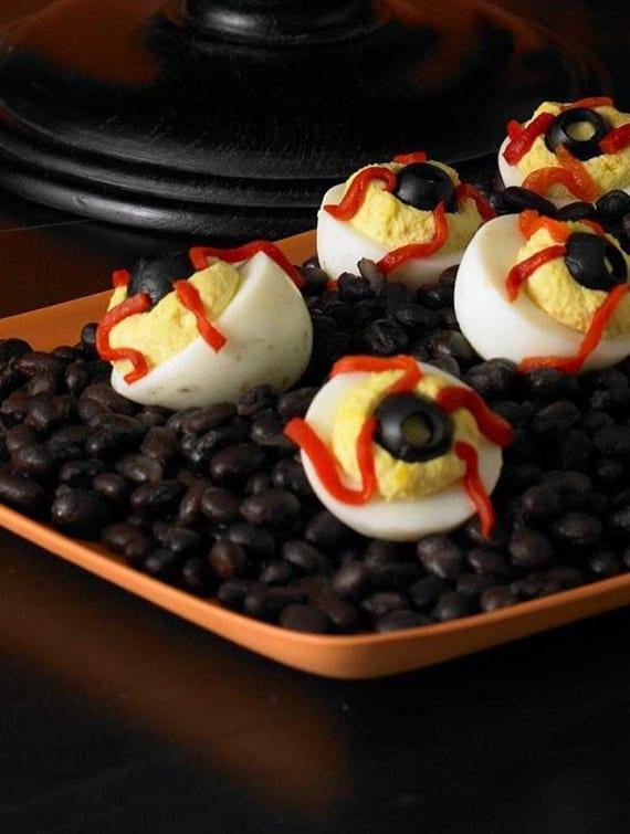 rezept für schnelle und leckere Häppchen mit eiern zum halloween