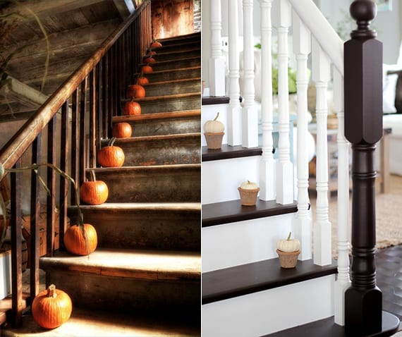 treppe-dekoideen mit weißen und orangen kürbissen