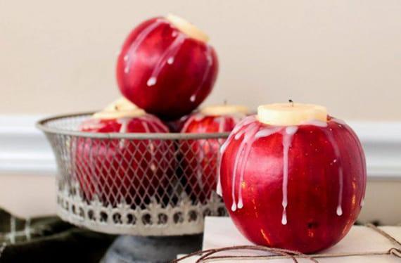 diy kerzenhalter aus äpfeln als coole Tischdeko idee