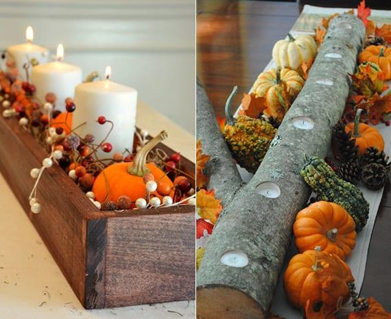 originelle Herbstdeko für den tisch mit diy Teelichter aus Ast, Zapfen und verschiedenen Kürbissorten