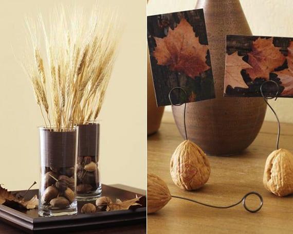 coole herbstdeko mit weizenhalmen und nüssen und kreative bastelidee für diy fotohalter aus walnüssen