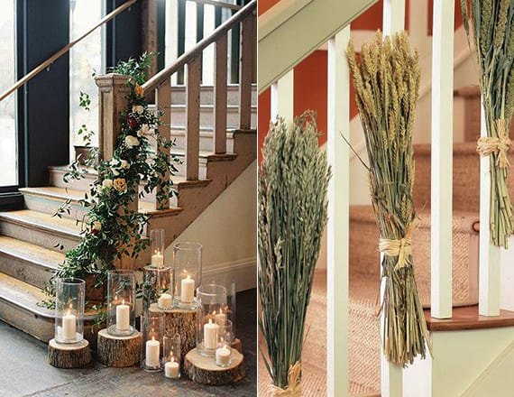 innentreppe dekorieren mit Weizenstäüßen, glasvasen mit kerzen und dicken holzscheiben