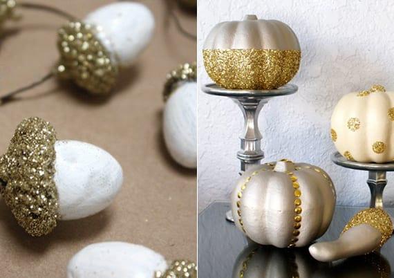 glitter-herbstdeko selber machen mit kürbissen und eicheln