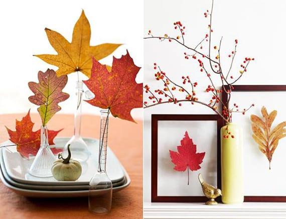 coole dekoideen mit baumblättern in kleinen glasvasen und in bilderrahmen
