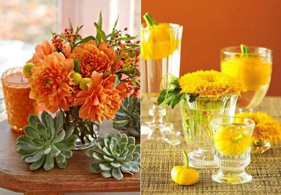 herbst blumendeko mit gelben und orangen blumen und kleinen kürbissen in gläsern mit wasser