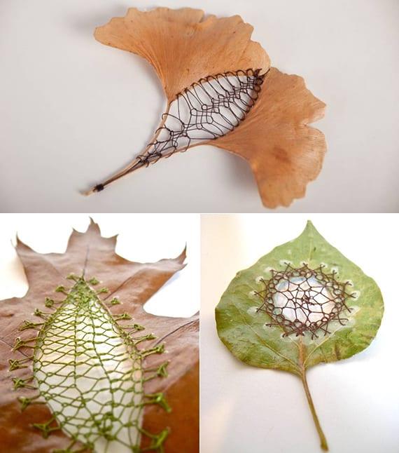 coole bastelidee mit Blättern zum häckeln