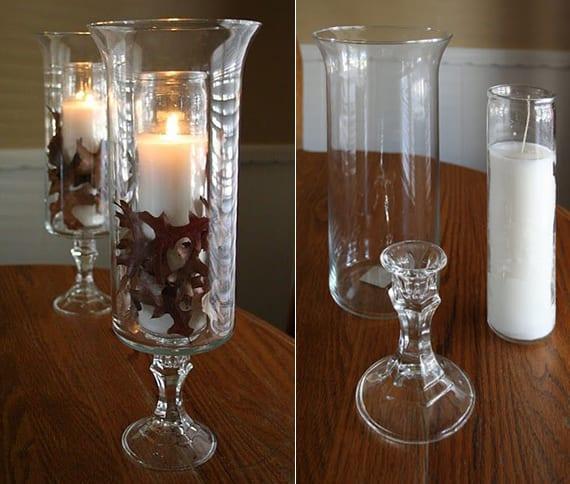kreative tischdeko mit kerzen und baumblättern in glasvasen