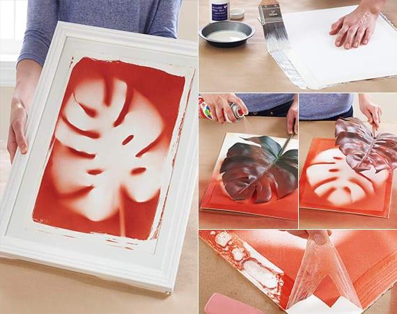 bastelideen für DIY Bildern mit Blätter-Abdruck