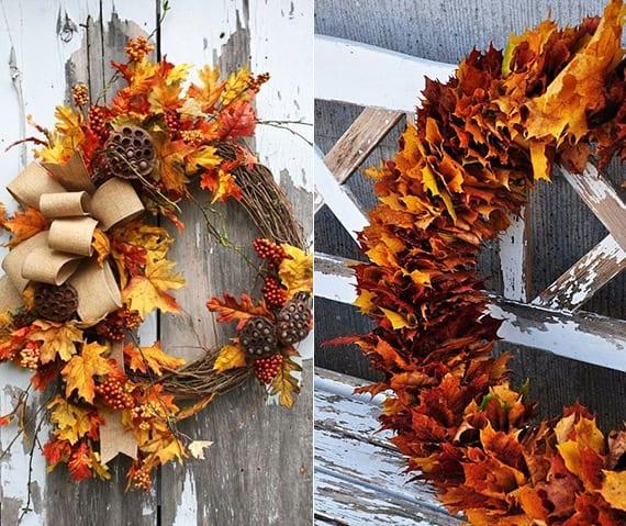 bastelidee für dekoration mit selbstgemachter Blätter-Kranz