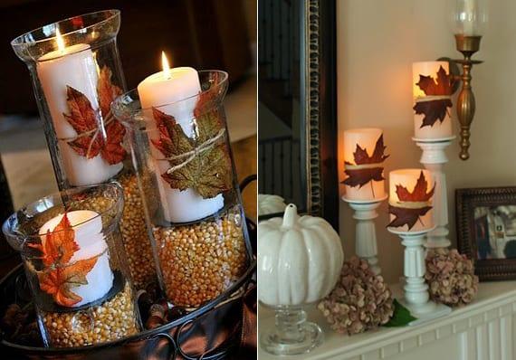tisch und sideboard herbstlich dekorieren mit kerzen, meis und blättern