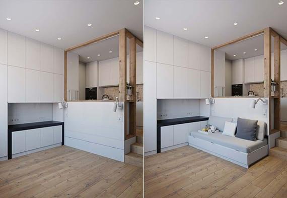 raumsparende einrichtungsideen für kleine 1-zimmer-wohnung mit holzfüßboden, wohnwand weiß, Sofabett und offener Küche im Wohnzimmer
