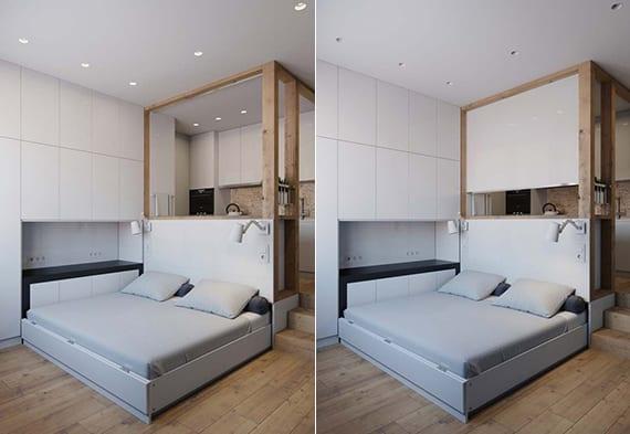 coole einrichtungsidee und raumtrennung in kleinen wohnungen mit küche und schlafzimmer im Wohnbereich