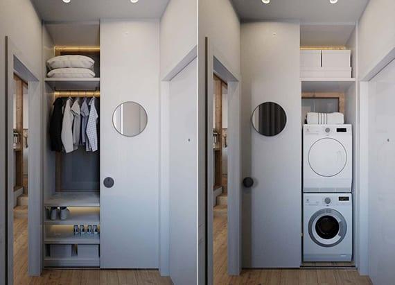 schaffen sie mehr staufläche im eingangsbereich durch garderobe mit schiebetür _kleinen waschraum für trocken- und waschmaschine im flur