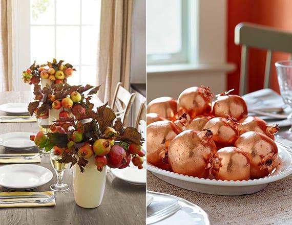 tischdeko ideen für coole herbstdeko mit granatapfel