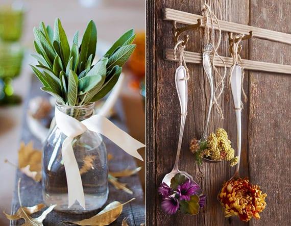 thanksgiving und erntedankfest dekoideen mit frischem salbei und bunten Blüten in silbernen kellen