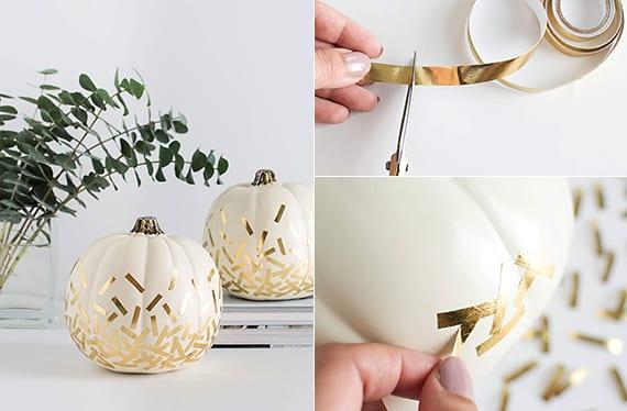 kürbis-herbstdeko basteln mit weißen kürbissen und goldenen konfetti