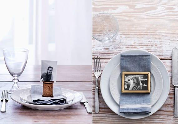 originelle platzteller dekoration mit schwarzweißen fotos und coole idee zum servietten falten